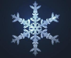 Computer simulation of a snowflake.  Image Credit:  University of Wisconsin- Madison