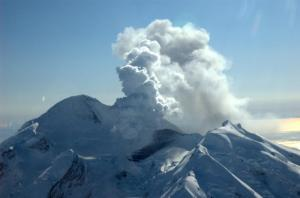 Mt. Redoubt in Mid-March.  Photo credit:  Alaska Volcano Observatory