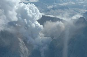 Mt. Redoubt during overflight on April 5, 2009. Photo Credit:  Heather Bleick, AVO/USGS