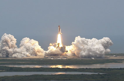 Space shuttle Atlantis lifts off Launch Pad 39A at NASA's Kennedy Space Center in Florida.  Photo credit:  NASA TV