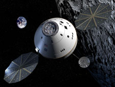 Artist's concept of NASA's Orion crew exploration vehicle in lunar orbit. Image Credit: NASA
