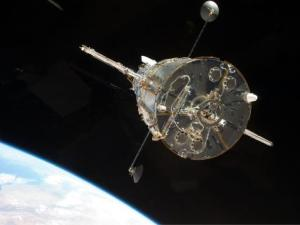 Atlantis captured this still image of the Hubble Space Telescope as the two spacecraft begin their relative separation on May 19, 2009.  Image credit:  NASA