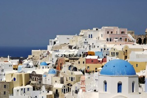 Typical buildings in Oia, Santorini in Greece.  Photo credit:  Marius Fiskum