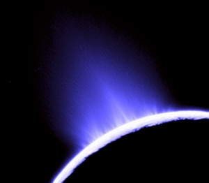 Icy plumes on Enceladus in a 2005 image from the Cassini spacecraft.  Image credit: Cassini Imaging Team, SSI, JPL, ESA, NASA