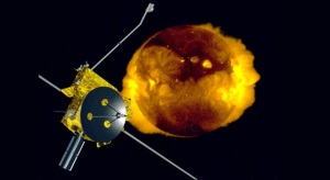 Artist's concept of Ulysses moving toward the Sun.  Image credit:  JPL/NASA