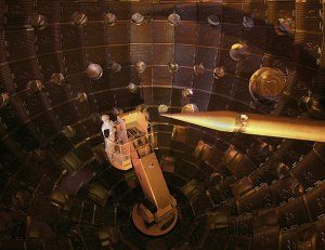 Inside the National Ignition Facility (NIF) target chamber.  Photo credit:  National Ignition Facility