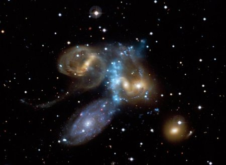 Stephan's Quintet  Image credits: X-ray: NASA/CXC/CfA/E. O'Sullivan Optical: Canada-France-Hawaii-Telescope/Coelum