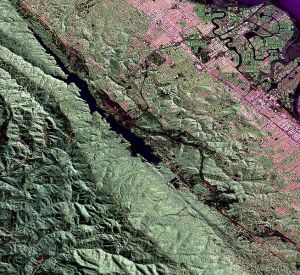 NASA Radar 3-D View of San Andreas Fault.  This false-colour radar image shows a section of the fault west of San Francisco Bay.  Image credit:  NASA Jet Propulsion Laboratory