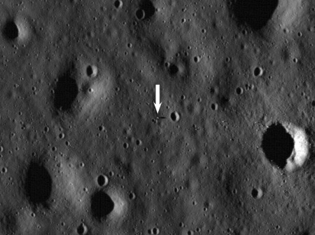 The Apollo 11 lunar module as photographed by NASA's LRO.  Image credit:  NASA/Goddard Space Flight Center/Arizona State University