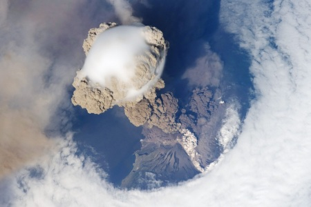 The International Space Station captured this image of the Sarychev Peak volcano erupting.  Image credit:  NASA