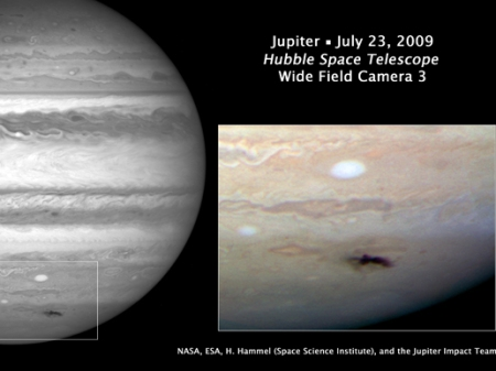 View of Jupiter's collision as seen by the Hubble.  This picture was taken on July 23, 2009.  mage Credit: NASA, ESA, and H. Hammel (Space Science Institute, Boulder, Colo.), and the Jupiter Impact Team