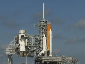 Discovery is poised for liftoff at the Kennedy Space Center in Cape Canaveral, FL.  Photo credit:  NASA/Bill Ingalls