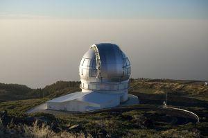 The Gran Telescopio Canarias (GTC) at Roque de los Muchachos Observatory, La Palma, Canary Islands.  Photo credit:  Pachango