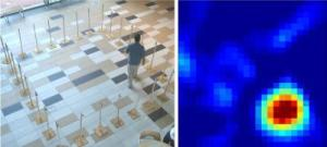 """On the left, a person walks around inside a square of 28 radio transceivers.  The person creates """"shadows"""" in the radio waves, resulting in the image displayed on right, in which the person appears as a reddish-orange-yellow blob. (Image Credit: Sarang Joshi and Joey Wilson, University of Utah)"""