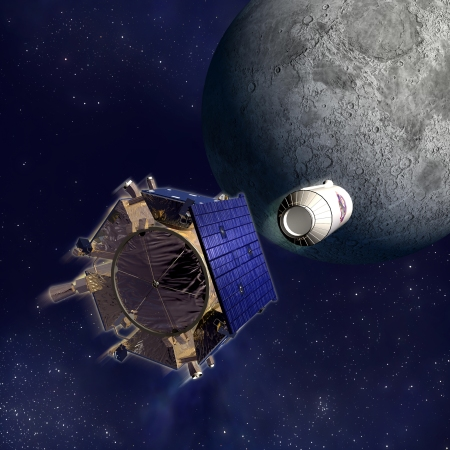 Artist's rendering of the LCROSS spacecraft and Centaur separation.  Image credit:  NASA